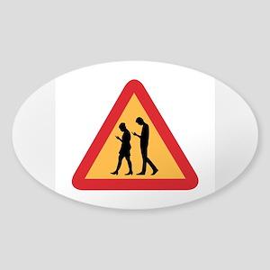 Mobile Zombie Warning, Sweden Sticker (Oval)