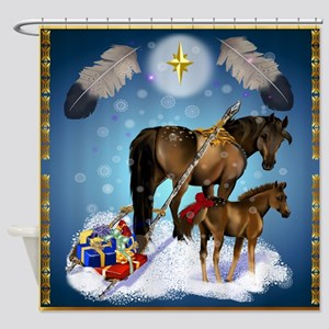 Christmas Mare and Colt Shower Curtain