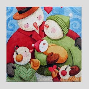 Snowman Family Tile Coaster