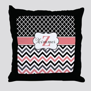 Black Coral Quatrefoil Personalized Throw Pillow