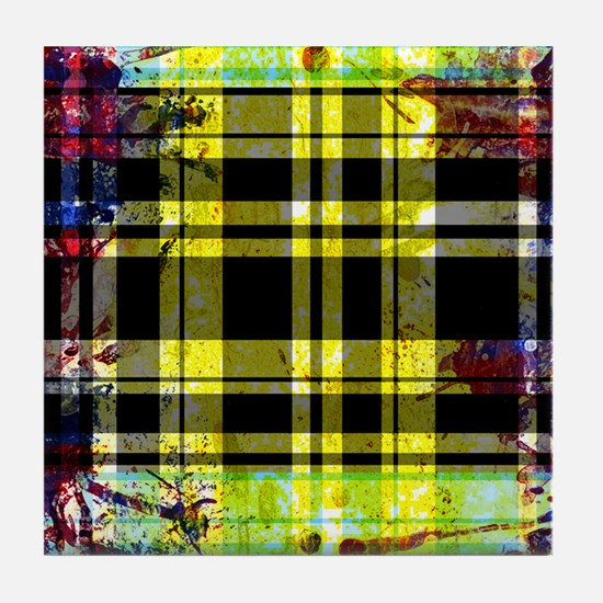 RED YELLOW BLUE PLAID BLACK Tile Coaster