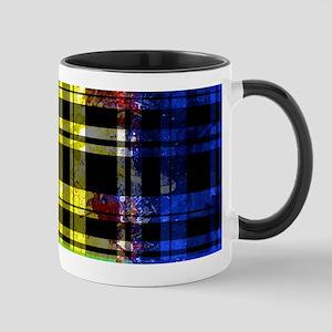 RED YELLOW BLUE PLAID BLACK Mugs