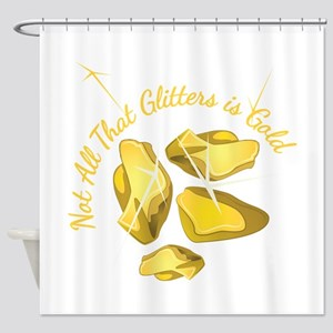 Gold Glitters Shower Curtain