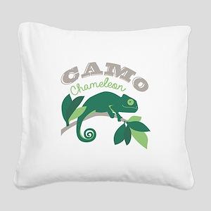 Camo Chameleon Square Canvas Pillow