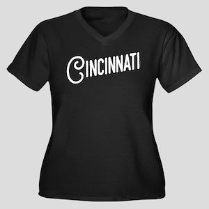 Cincinnati, Women's Plus Size V-Neck Dark T-Shirt