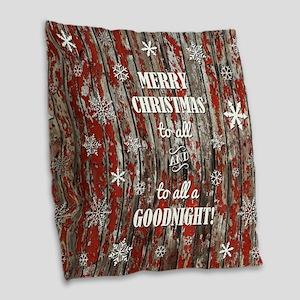 MERRY CHRISTMAS Burlap Throw Pillow