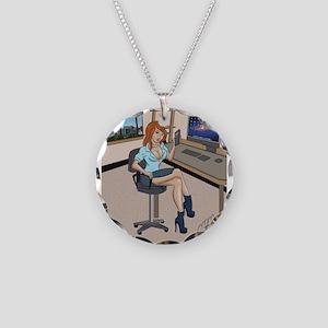 Sexy secretary Pinup Necklace Circle Charm