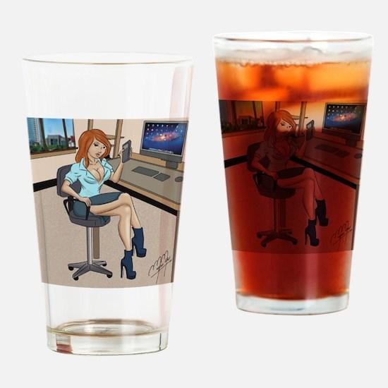 Sexy secretary Pinup Drinking Glass