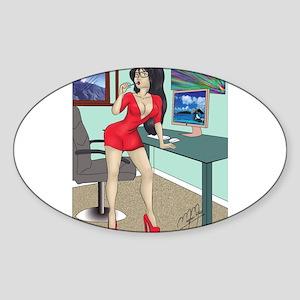 Sexy clerk pinup Sticker