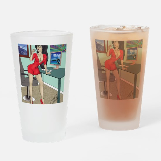 Sexy clerk pinup Drinking Glass