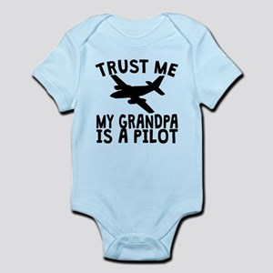 Trust Me My Grandpa Is A Pilot Body Suit