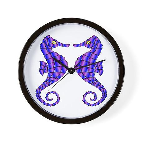 2 Beautiful Seahorses Wall Clock