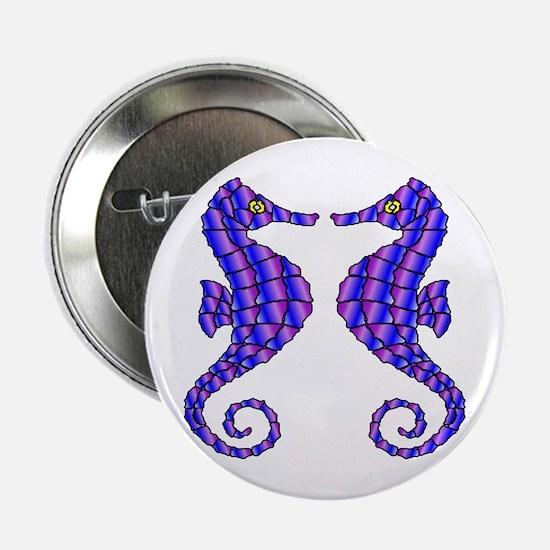 2 Beautiful Seahorses Button