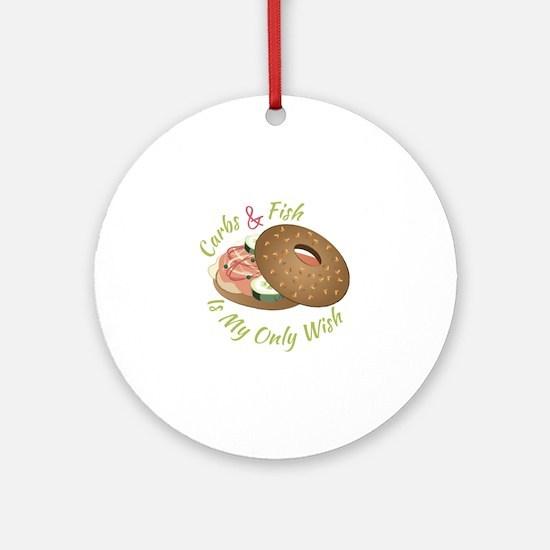 Carbs & Fish Round Ornament