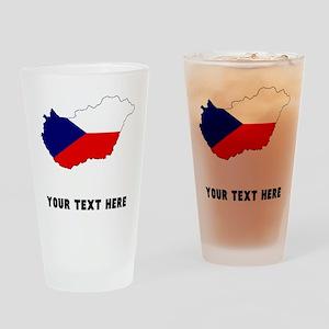 Czech Flag Silhouette (Custom) Drinking Glass