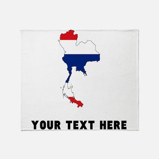 Thai Flag Silhouette (Custom) Throw Blanket