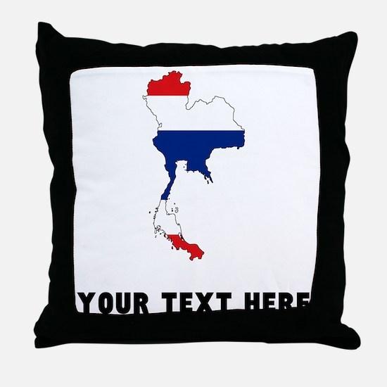Thai Flag Silhouette (Custom) Throw Pillow