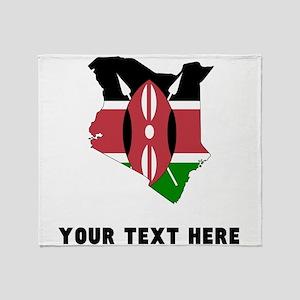 Kenyan Flag Silhouette (Custom) Throw Blanket