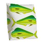 Mahi-Mahi Dolphinfish 3 Burlap Throw Pillow