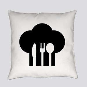 Chef hat fork knife spoon Everyday Pillow