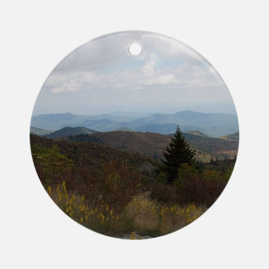 North Carolina Mountain Range Round Ornament