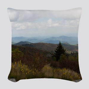 North Carolina Mountain Range Woven Throw Pillow