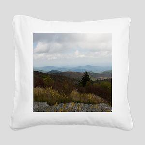 North Carolina Mountain Range Square Canvas Pillow