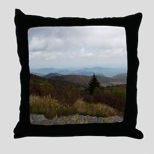 North Carolina Mountain Range Throw Pillow