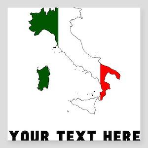 Italian Flag Silhouette (Custom) Square Car Magnet