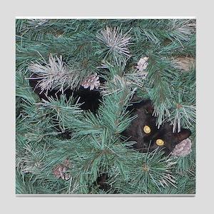 Black Cat in Christmas Tree Tile Coaster