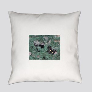 Black Cat in Christmas Tree Everyday Pillow