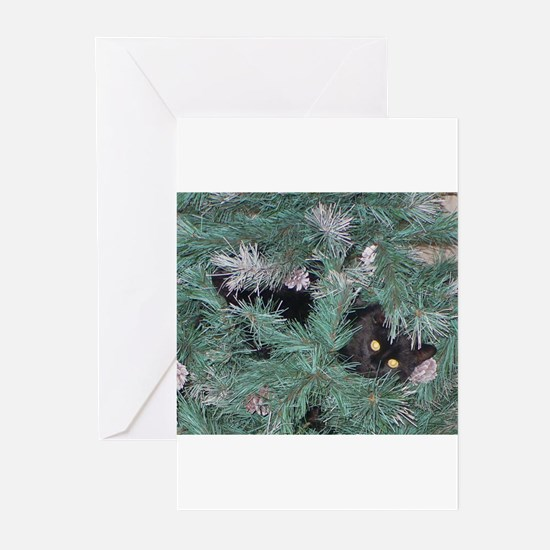 Black Cat in Christmas Tree Greeting Cards