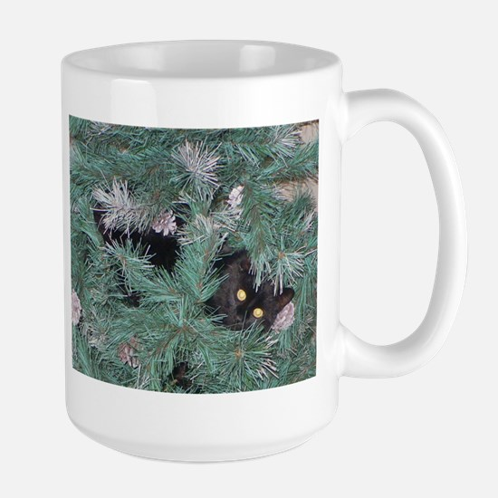 Black Cat in Christmas Tree Mugs