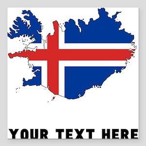 Icelandic Flag Silhouette (Custom) Square Car Magn