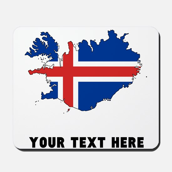 Icelandic Flag Silhouette (Custom) Mousepad