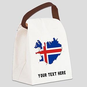 Icelandic Flag Silhouette (Custom) Canvas Lunch Ba