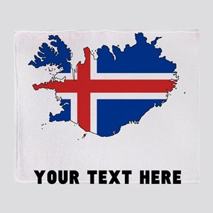 Icelandic Flag Silhouette (Custom) Throw Blanket