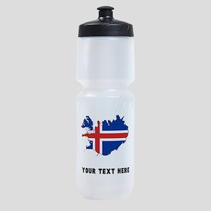 Icelandic Flag Silhouette (Custom) Sports Bottle