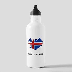 Icelandic Flag Silhouette (Custom) Water Bottle
