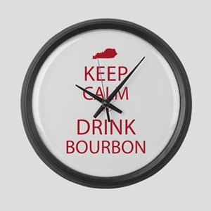 Keep Calm and Drink Bourbon Large Wall Clock