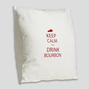 Keep Calm and Drink Bourbon Burlap Throw Pillow