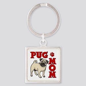 PUG MOM Square Keychain