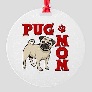 PUG MOM Round Ornament
