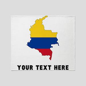Colombian Flag Silhouette (Custom) Throw Blanket