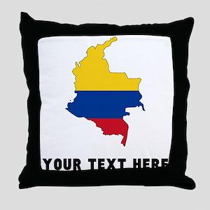 Colombian Flag Silhouette (Custom) Throw Pillow