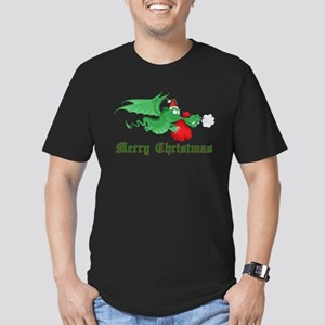 Christmas Dragon Men's Fitted T-Shirt (dark)