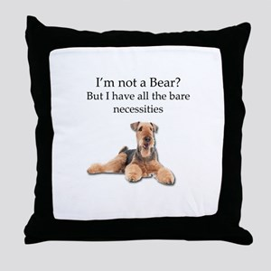 Airedale Surprised He Isn't a Bear Throw Pillow