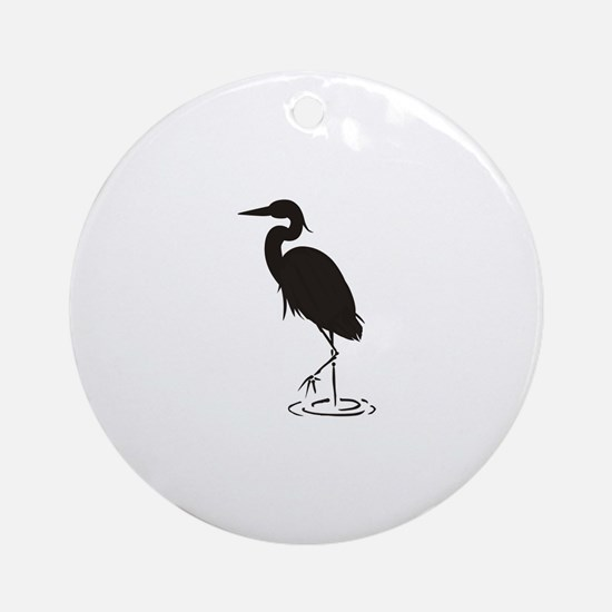 Heron Silhouette Round Ornament