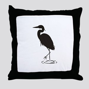 Heron Silhouette Throw Pillow