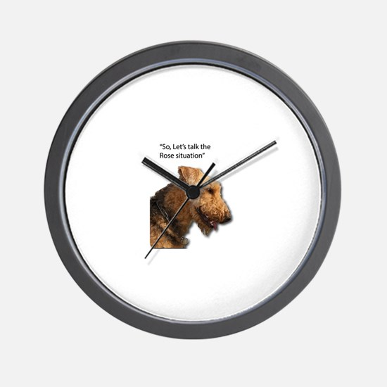 Airedale Destroyed your Rose Bushes Wall Clock